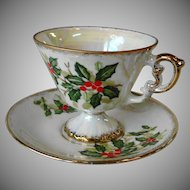 Vintage Enesco Christmas Holly Cup and Saucer