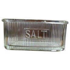 Vintage Glass Hoosier Cabinet Ribbed Salt Dish Jar