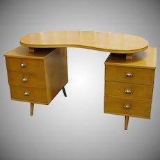 Mid Century Lee Furniture Desk Kidney Shape Top