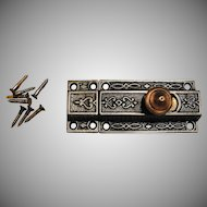 Ornate Victorian Cast Iron and Brass Privacy Sliding Door Bolt