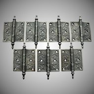 Ornate Victorian Cast Iron Steeple Tip Hinges 3 ½ by 3 ½