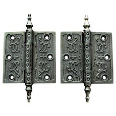 Victorian Cast Iron Hinges with Steeple Tips 3 ½ x 3 ½