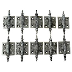 Ornate Victorian Cast Iron Steeple Tip Hinges 2 by 2 Inches