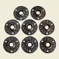 Eight Matching Victorian Aesthetic Design Iron Door Knob Rosettes