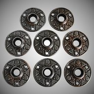 Eight Matching Victorian Aesthetic Design Iron Door Knob Rosettes