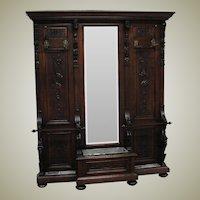 Large Victorian Walnut Hand Carved Hall Mirror