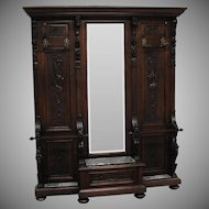 Large Victorian Walnut Hand Carved Hall Mirror