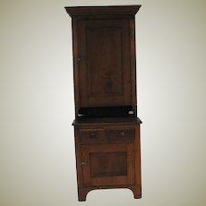 Early Primitive Walnut 2 Piece Cupboard