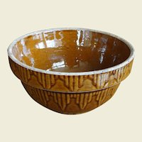 Vintage Cinnamon Brown Embossed Picket Fence Stoneware Mixing Bowl