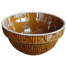 Vintage Cinnamon Brown Embossed Picket Fence Stoneware Mixing Bowl
