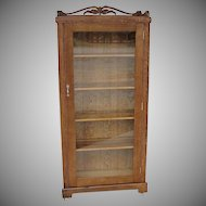 Small One Door Oak Bookcase or Display Cabinet