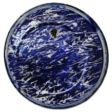 Vintage Cobalt Blue and White Swirl Graniteware Pan