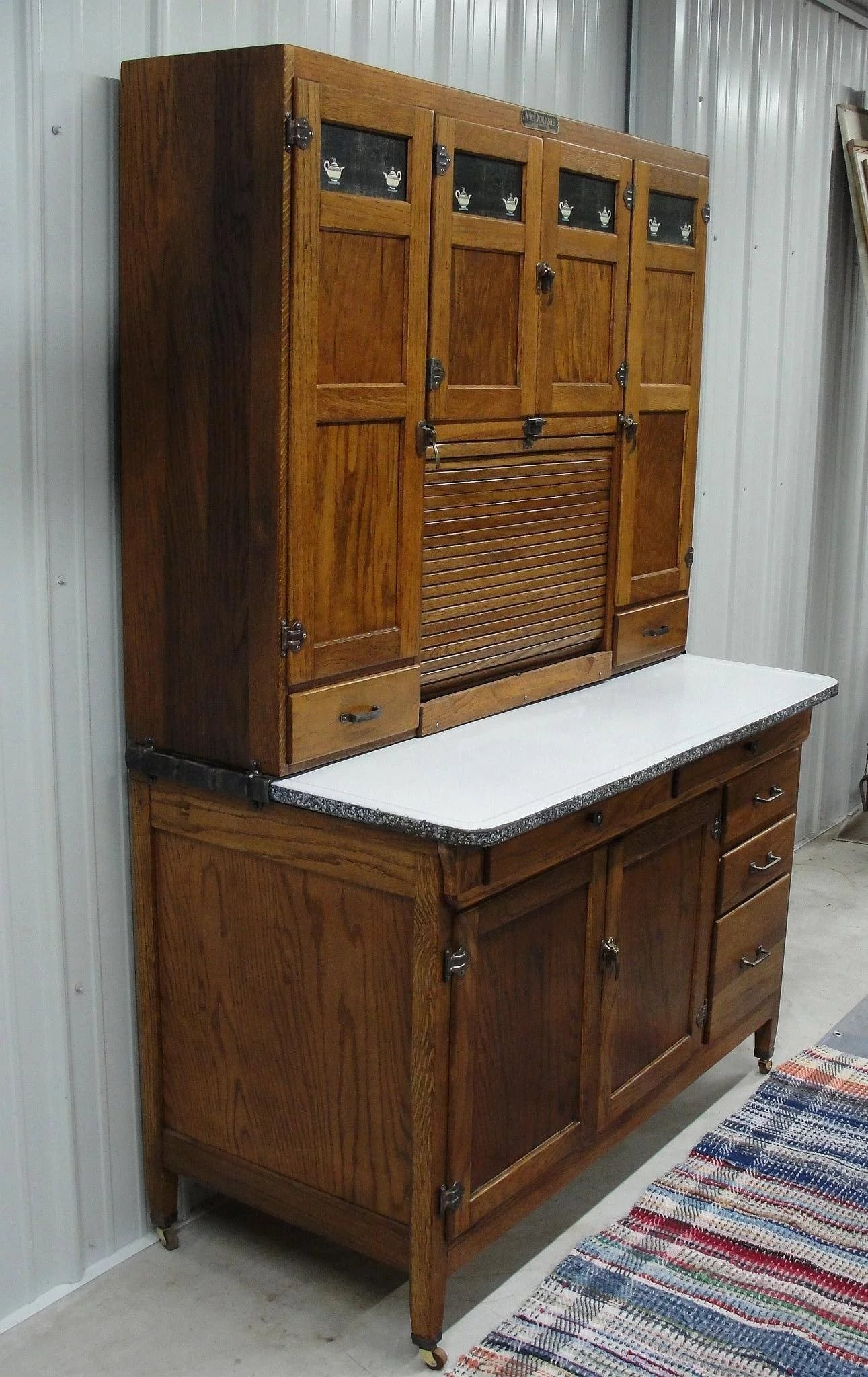 Vintage 1920 Mcdougall Oak Kitchen Cabinet Bread