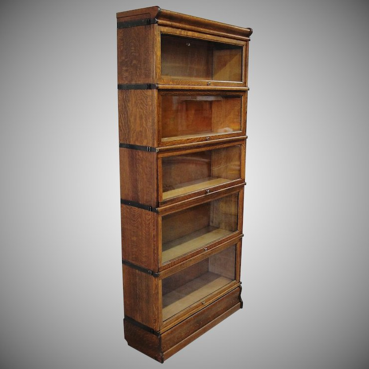 Quartersawn Oak Macey 5 Stack Barrister Lawyer Bookcase - Quartersawn Oak Macey 5 Stack Barrister Lawyer Bookcase : Bread
