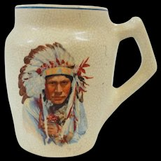 Roseville Creamware Mug Native American Indian Chief