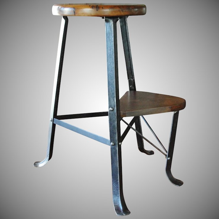 Vintage Stool With Retractable Foot Rest