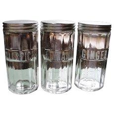 Vintage Glass Hoosier Cabinet Spice Jars