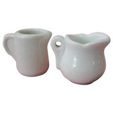 Two Vintage White Porcelain Diner Creamers - Red Tag Sale Item