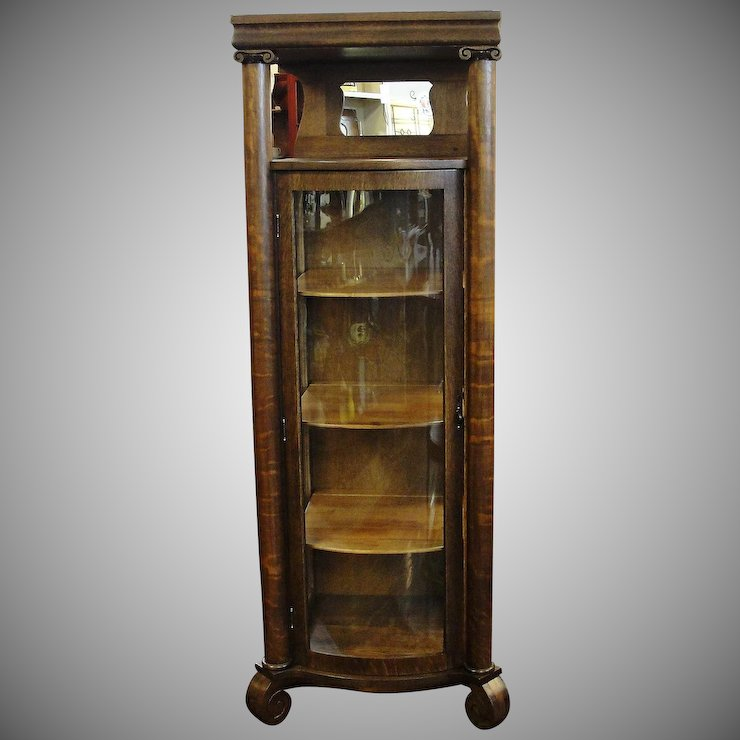 Small One Door Oak Curved Glass China Cabinet - Small One Door Oak Curved Glass China Cabinet : Bread & Butter