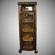 Small One Door Oak Curved Glass China Cabinet