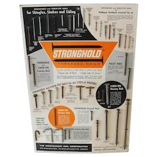 1961 Vintage Hardware Store Display Stronghold Threaded Nails