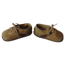 Vintage Child or Doll Leather Lace-Up Shoes