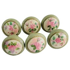 Six Vintage Wooden Knobs with Hand Painted Flowers