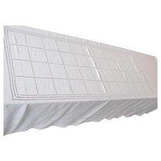 Vintage White Linen Tablecloth with Drawnwork Drawn Work 70 x 112