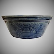 Early McCoy Blue Glaze Yellow Ware Bowl Windmills