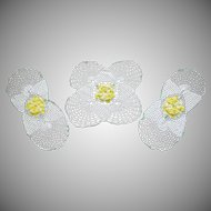 Vintage Crocheted Lace Doily Set Yellow Roses