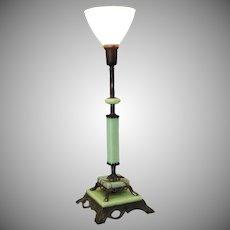 Vintage Deco Jadeite Green Slag Glass Lamp