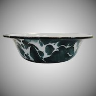 Vintage Salesman Sample Emerald Green Swirl Graniteware Basin