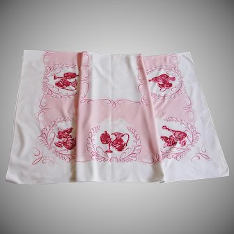 Vintage Mid Century Pink and White Kitchen Tablecloth 58 x 52
