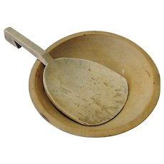 Old Farm House Turned Wooden Bowl with Butter Paddle