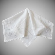 Vintage White Linen Tea Cloth with Drawn Work 32 x 32