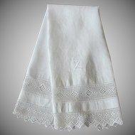 Antique White Linen Damask Towel Lace Z Monogram