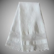 Antique White Linen Damask Towel Lace Z Monogram