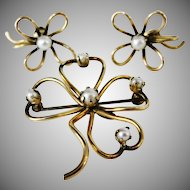 Vintage Gold Filled Four Leaf Clover Brooch and Earrings