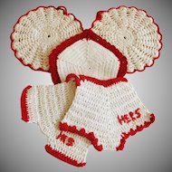 Vintage Red White Crochet Kitchen Pot Holders