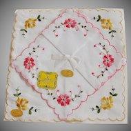 Vintage Unused Ladies Handkerchiefs Floral Embroidery