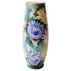 Hand Painted Signed Austria Vase Chrysanthemums