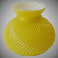 Vintage Yellow Glass Swirl Student Lamp Shade