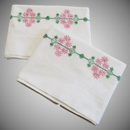 Vintage White Cotton Pillowcases with Pink Green Embroidery