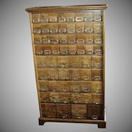 Vintage Oak & Metal Industrial Cabinet with 60 Drawers