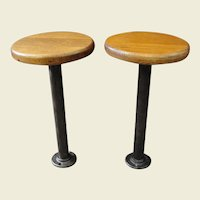 Vintage Cast Iron Industrial Stools with Oak Seats