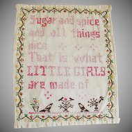 Vintage Embroidered Little Girls Linen Motto Sampler