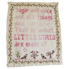 Vintage Embroidered Little Girls Linen Motto Sampler