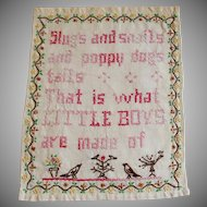 Vintage Embroidered Little Boys Linen Motto Sampler