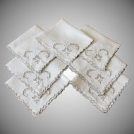 Vintage Linen Embroidered Napkins
