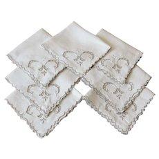Vintage Linen Embroidered Napkins